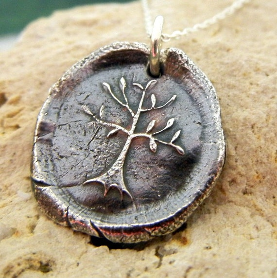 Wax Seal Necklace, Family Tree Necklace, Family Tree Charm, Family Tree Pendant, Rustic Tree Charm Necklace, Silver Tree Charm Necklace