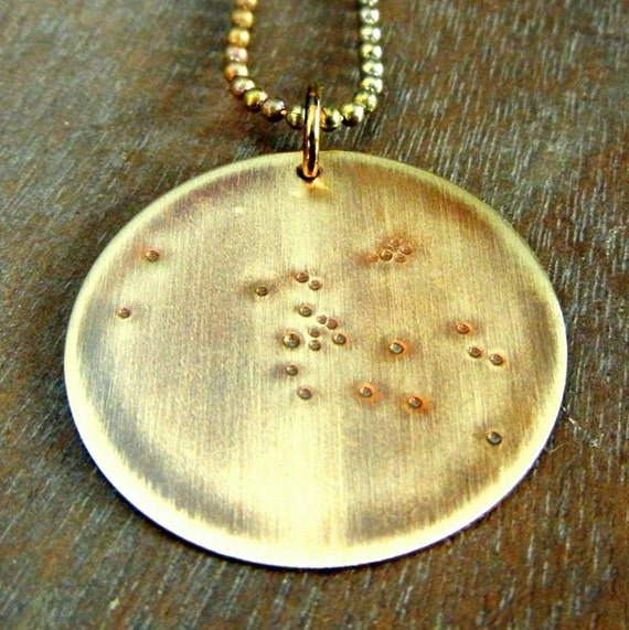 Taurus Constellation Necklace | Zodiac Necklace | April May Birthday | Hand Stamped Brass WHAT'S YOUR SIGN by E. Ria Designs
