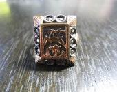 Vintage Silver Marcasite Deer Ring