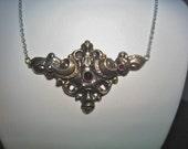 Antique Art Nouveau Silver Piece W/ Garnets On A Chain