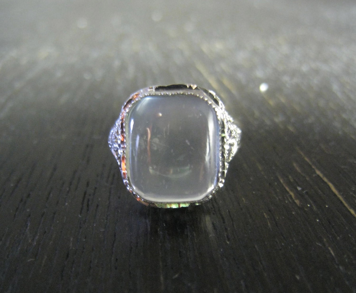 antique 14k white gold filigree moonstone ring