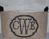 Monogram Burlap Medium Bin Container chic storage, Great Bridesmaid gift, birthday gift OR personalized gift. Charming burlap home decor.