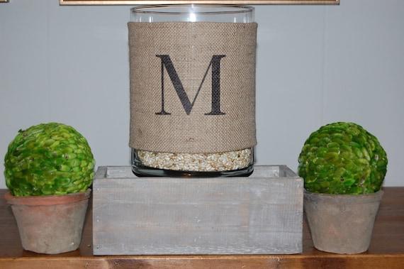 Monogram Burlap Hurricane Vase.  Rustic chic wedding centerpiece, personalized wedding gift or wedding decoration