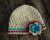 Cotton Beanie with Flower....You Choose Size and Colors...Great Photo Prop