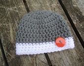 The BIG GUY Baby Beanie in Grey and White...Choose Your Size...Newborn to 12 Months