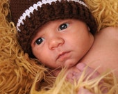 Crocheted Football Hat Beanie.....Preemie, Newborn to 3 months, 3 to 6 months.....Great Photography Prop