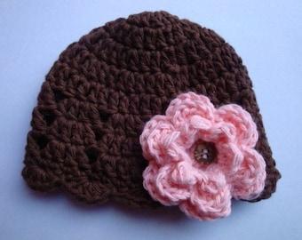 Newborn Cotton Beanie in Brown with Pink Flower...Great Photo Prop