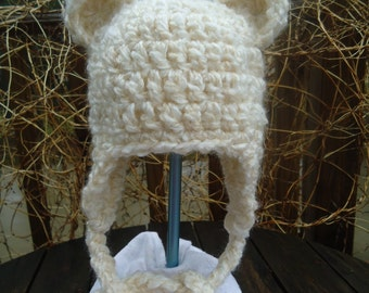 Snuggly Fuzzy Bear Earflap Hat in Cream (Off white)....Great Photo Prop