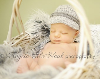 Preemie, Newborn to 3 Months, 3 to 6 Months....Chunky Newsboy Brimmed Hat....Great Photo Prop