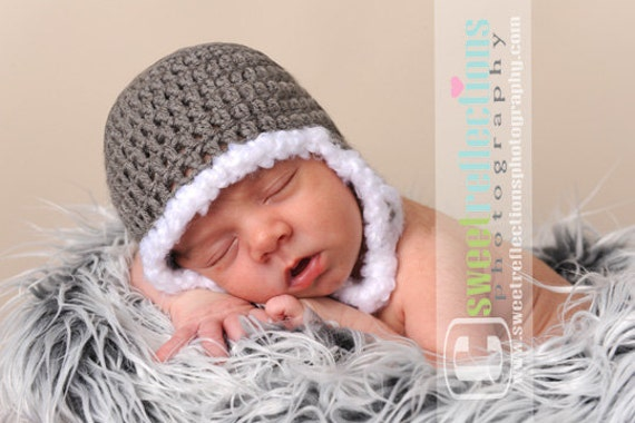 Snuggly Earflap Helmet Hat Gray with White Fuzzy Trim....Great Photo Prop