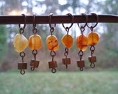 Mazama - agate beaded stitch markers