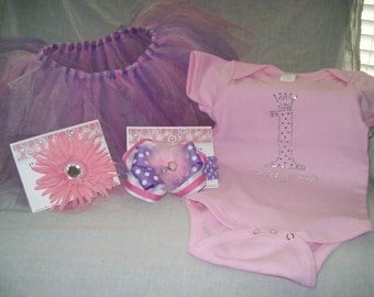 First Birthday Tutu Set  Can be made in any color