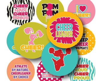 Cheerleading Bottle Cap Images- 4x6 Digital Collage Sheet (No. 1075) 1 Inch Circles for Bottlecaps, Hair Bow Centers, & More