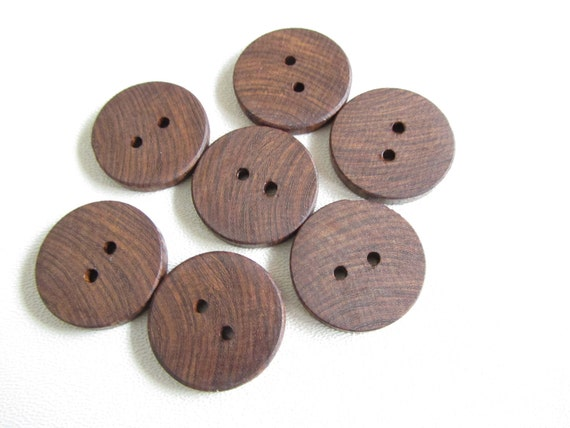 Brown Ebony Wood Buttons - Lot of 7 Handmade buttons