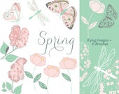 CLIP ART & Photoshop Brushes - Spring - for commercial and personal use