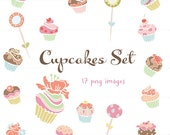 CLIP ART - Cupcake Set - for commercial and personal use