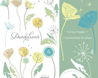 CLIP ART & Photoshop Brushes - Dandelions - for commercial and personal use