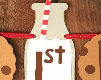 Milk and Cookies Party - Milk & Cookies Banner - Happy Birthday Banner - Cookies and Milk - 1st Birthday Party - Party Banner - Photo Prop