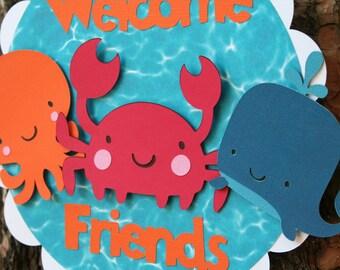 Under the Sea Creatures Door Sign Welcome Friends