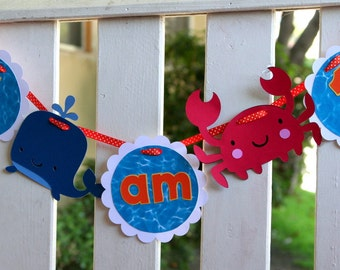 Under the Sea Crab and Whale High Chair Banner I am 1 - I am one - Ocean Friends Party - First Birthday Party - Beach Party - Summer Party