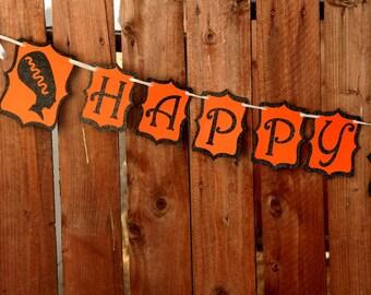 Monster Halloween Banner - HAPPY HAUNTINGS