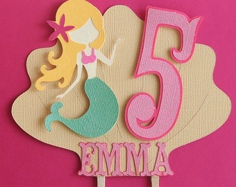 Mermaid Party - Mermaid Cake Topper- Mermaids and Shells- Cake Smasher - Party Decor- Photo Prop- Customizable Colors