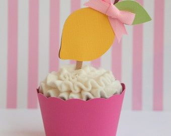 Pink Lemonade Lemon Cupcake Toppers Set of 12