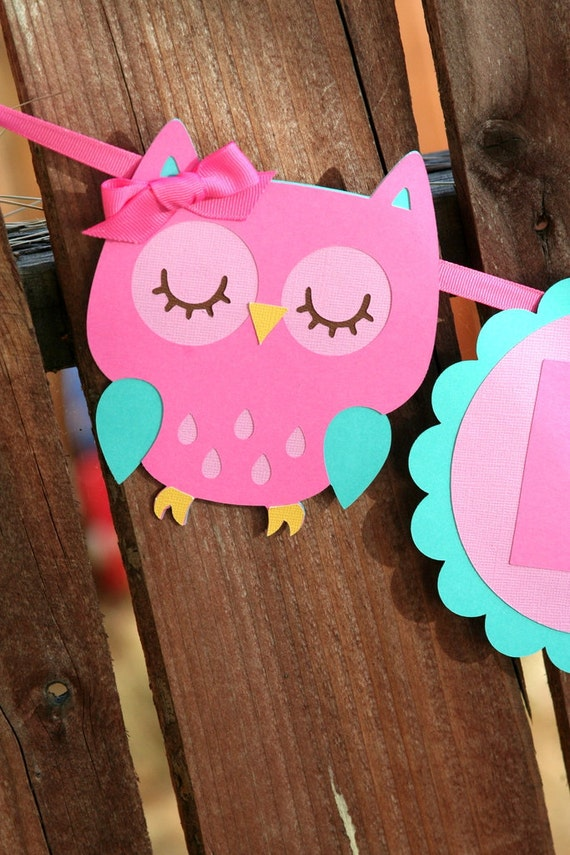 Owl Party - Happy Birthday Banner - Pink Owl - Woodland Creatures - Pink and Teal -  Baby Shower - Birthday Party - Can be Customized