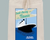 Titanic Vintage Poster Illustration Lunch Bag Tote with Velcro closure and Rope Handle