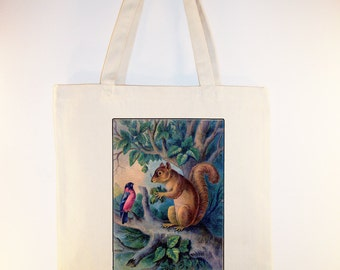 Vintage image of a beautiful bird and squirrel on Canvas Tote -- Selection of  sizes available