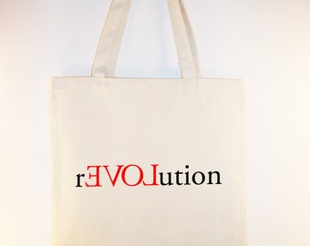 rEVOLution  Love Revolution Canvas Tote  -- Selection of sizes available