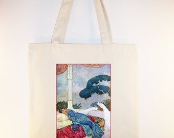 Indian Woman with White Peacocks Vintage Image BLACK or NATURAL Canvas Tote - Selection of sizes available