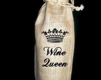 """Burlap """"Wine King"""" or """"Wine Queen"""" Wine Gift Bag"""