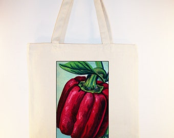 Fabulous Vintage Red Pepper illustration on Natural of Black Canvas Tote  -- Selection of sizes (and black totes)available