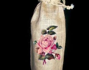 Vintage Pink Rose Wine Gift Bag