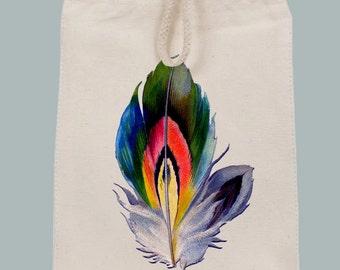 Vintage Vibrant Feather Illustration Lunch Tote