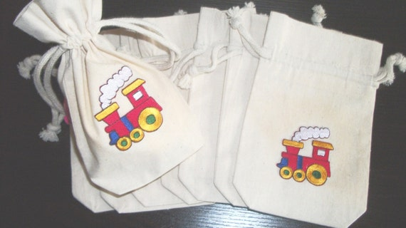 Choo-Choo Train Goody Bags Set of 8 Natural Muslin bags with Drawstring
