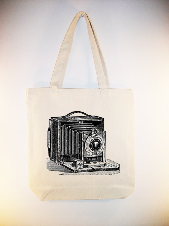 Vintage Camera Illustration Canvas Tote - Selection of sizes available