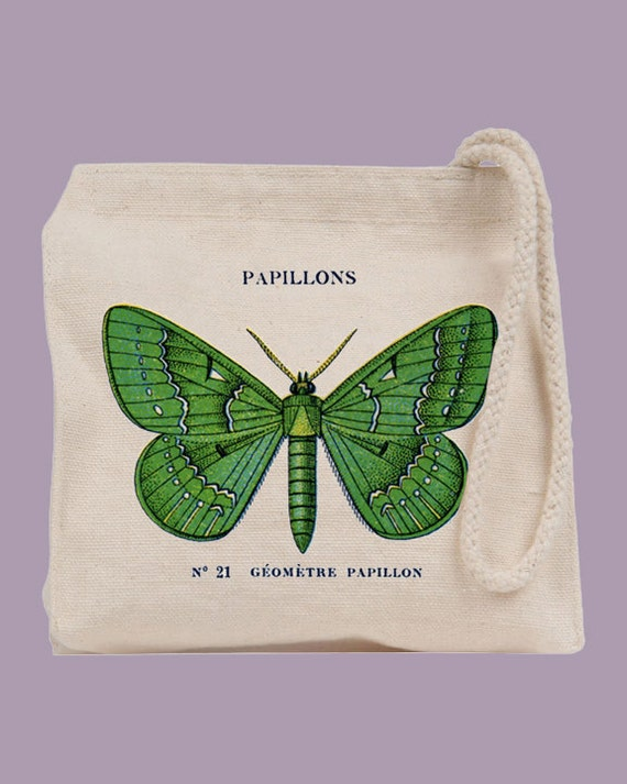 Vintage French Papillon Butterfly Canvas Wristlet / Mini Tote / Bridesmaid clutch  - personalization available