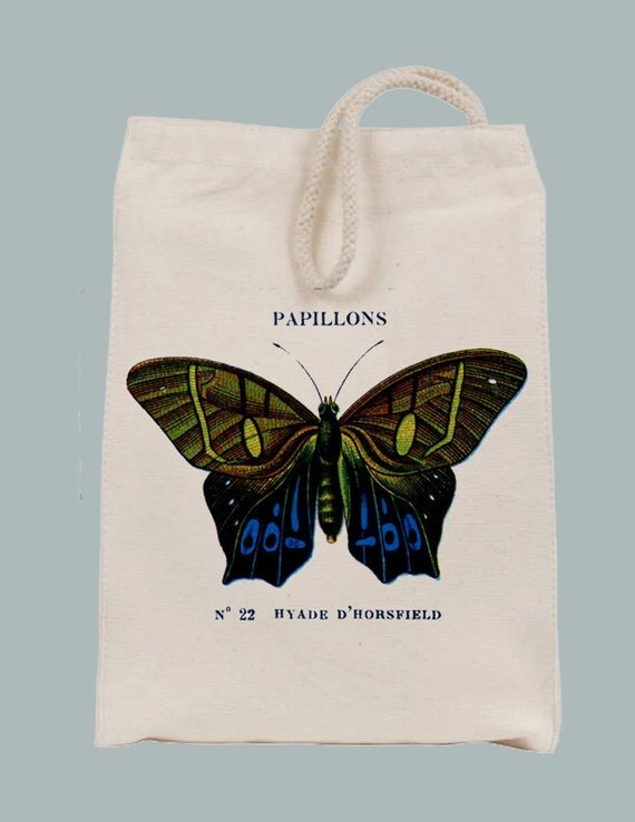 Vintage French Papillon Blue and Yellow Butterfly Canvas Lunch Style Tote / Gift Bag with velcro closure, rope handle