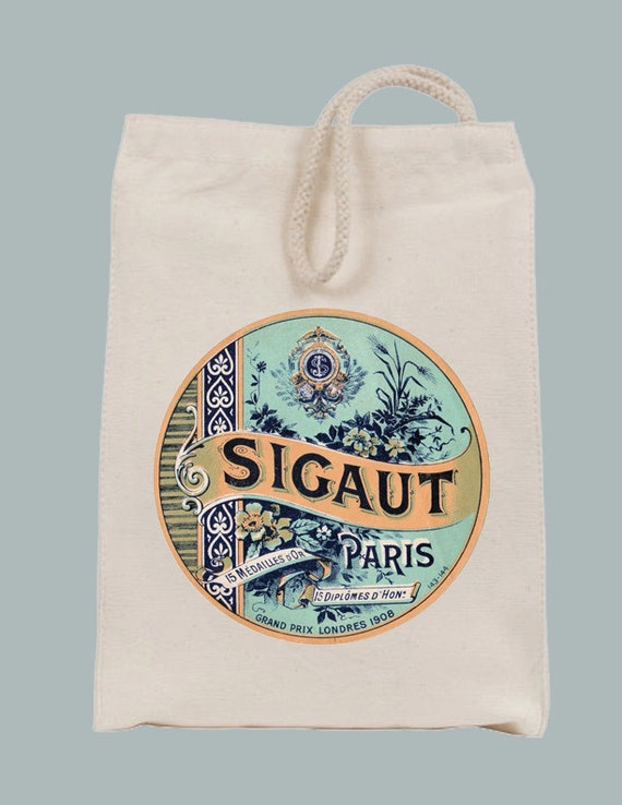 Vintage Parisian Sigaut Label Lunch Bag Tote with Velcro closure and Rope Handle