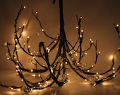 Mossy Woodland Tree Branch Twig Wedding Chandelier - Plug In Jeweled Crystal