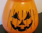 Vintage 50's Halloween Glass Pumpkin Candle Jack O Lantern Lite decoration