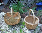 Two vintage hand made woven egg Baskets made in Maine & WV