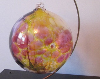 vintage Hand-crafted recycled glass art globe Hand Blown hanging glass Ball with stand  Modern Art Decor