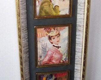 Vintage Midcentury Fashion Ladies Lady Portrait in Gold Fleck Frame - Wall art