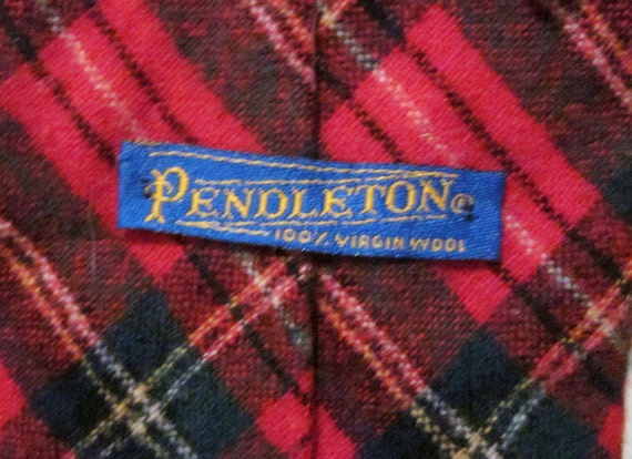 Red Tartan Plaid Tie Wool Pendleton Men's Necktie