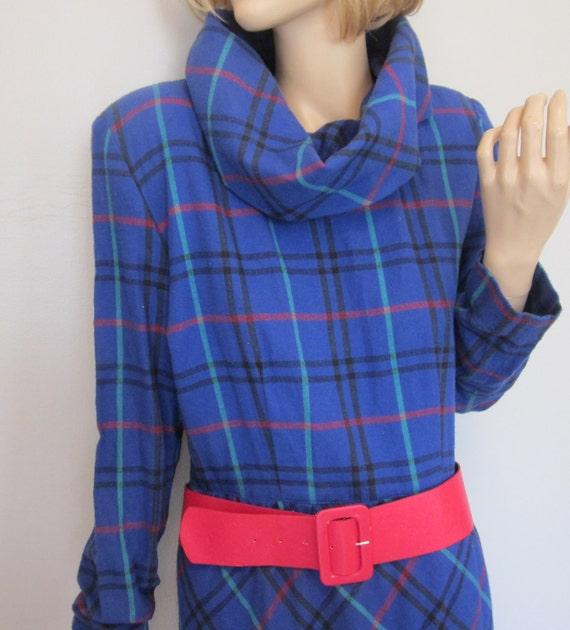 vintage 80's Slouchy cowl collar Plaid mini sweater Dress