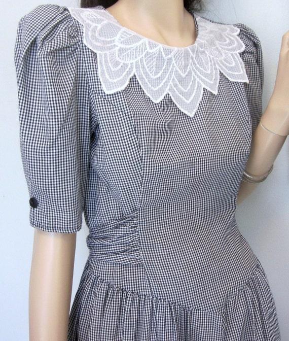 vintage 80's B&W Gingham Puff sleeve Tie bow waist Mini Dress S
