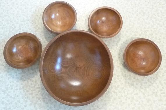 vintage Large Wooden Dough Mixing Bowl Salad Bowl set of 5
